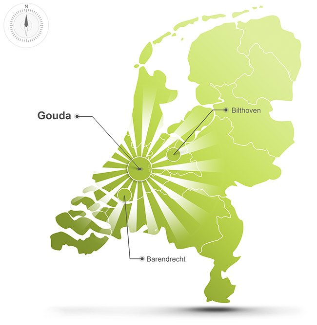 Het werkgebied van Straver Mobility Uitvaartvervoer met vestigingen in Gouda, Barendrecht en Bilthoven. Regio Gouda, Rotterdam, Utrecht, Den haag en Amsterdam.