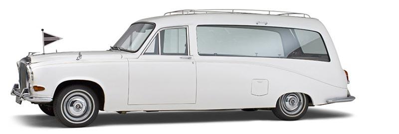 Daimler Witte Rouwauto, een klassieke Engelse oldtimer