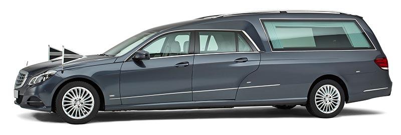 Antracietgrijze Mercedes Familie Rouwauto – Glas uitvoering