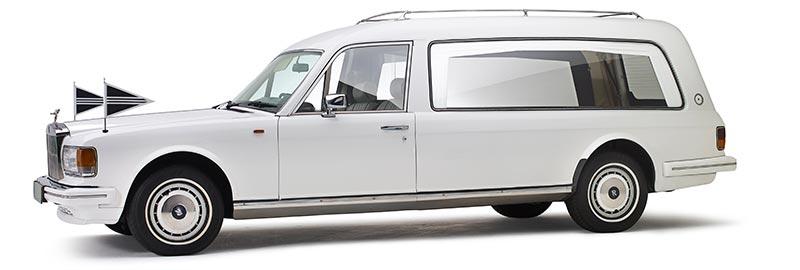 Rolls-Royce rouwauto, klassieke witte Oldtimer